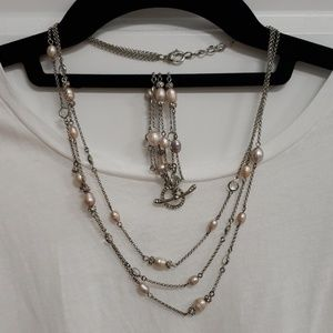Silver Monet Pearl and Rhinestone Necklace Set